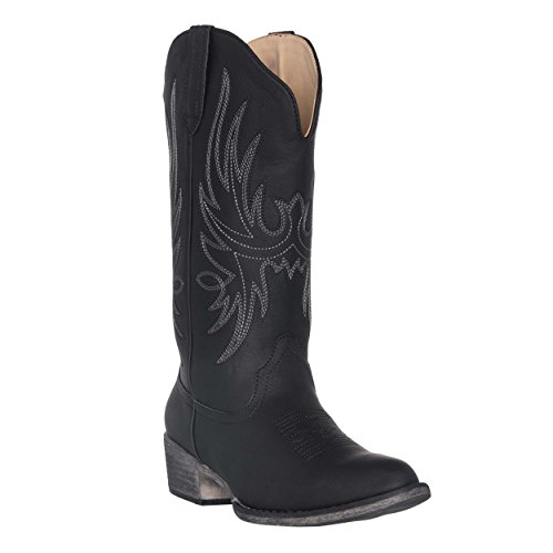 Women's Western Cowgirl Cowboy Boot | Black Dallas Pointed Toe by Silver Canyon, Size 6.5