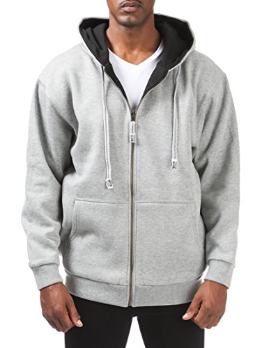 Pro Club Men's Full Zip Reversible Fleece and Thermal Hoodie, Large, Heather ()