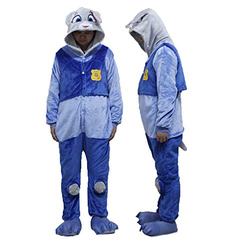 Tempatation Pajamas Unisex Adult Plush Animal Onesie Pajamas Halloween Cosplay Costume Sleepwear Homewear (Blue/M) for $<!--$35.99-->