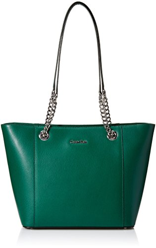 Calvin Klein womens Calvin Klein Hayden Mercury Leather East/West Tote, rich emerald, One Size