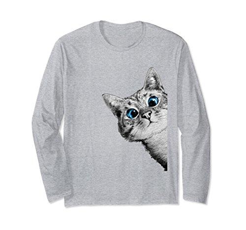 Unisex Shirts Women Cat Cute Face Long Sleeve Top T-Shirt Small Heather - Face Small Cat