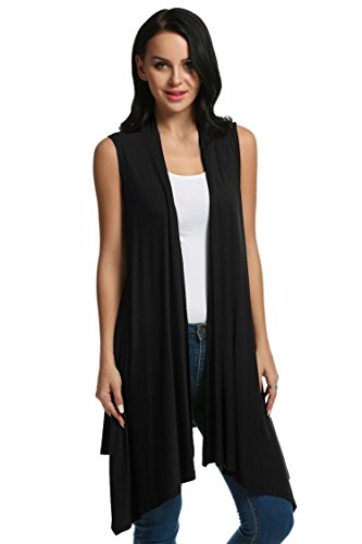 Meaneor Women's Sleeveless Asymetric Hem Open Front Drape Cardigan Sweater Vest Black XL (Black Long Vest)