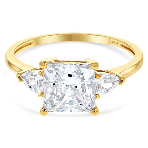 Stone Tri 14k Gold - Ioka - 14K Solid Yellow Gold 1.25 Ct. Princess Cut Tri Stone CZ Wedding Engagement Ring - Size 6.5