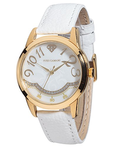 Yves Camani Champaubert Women's Wrist Watch Quartz Analog White Dial Gold Plated Stainless Steel Casing White Leather Strap
