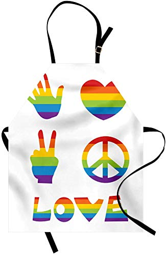 Kitchen Apron, 28 x 32 Inch Pride Apron, Various in Rainbow Colors Peace Hand Signs Heart Shape Gay Community, Unisex Kitchen Bib Apron with Adjustable Neck for Cooking Baking Gardening, Multicolor