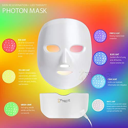 Project E Beauty 7 Colors LED Mask Face & Neck Photon Light Skin Rejuvenation Therapy Facial Skin Care Wireless Mask by Project E Beauty (Image #4)