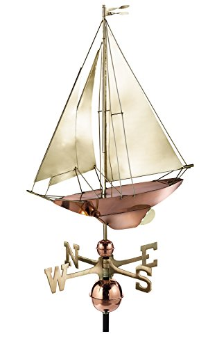Good Directions Racing Sloop Weathervane, Pure Copper with Brass Sails (24 inch), Boat, Wind ()
