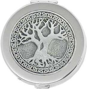 - 'Celtic Tree of Life' Round Silver Pill Box / Compact Travel Case