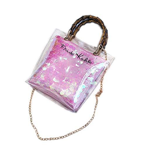 ANANXILA Summer NEW Small Handbag Transparent Women Chain Straw Bag Cross Body Bag Pink