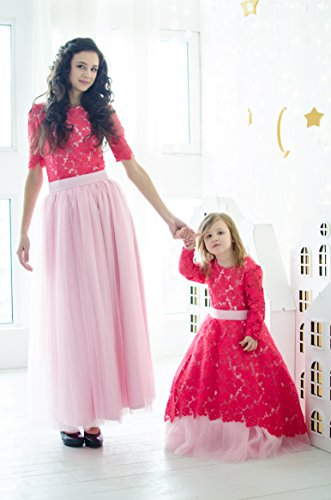 Crimsom Mother Daughter Matching Lace Dresses Mommy And Me Floor Length Outfits Raspberry