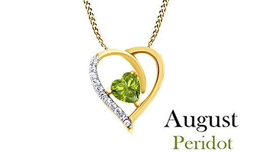 Jewel Zone US Simulated Peridot Heart Pendent Necklace 14k Yellow Gold Over Sterling Silver Yellow Gold Peridot Necklace