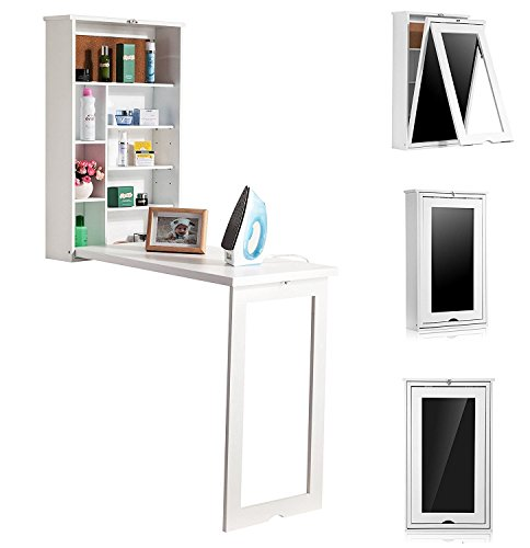Wooden-Life Fold Out Convertible Wall Mount Desk - White by Wooden-Life
