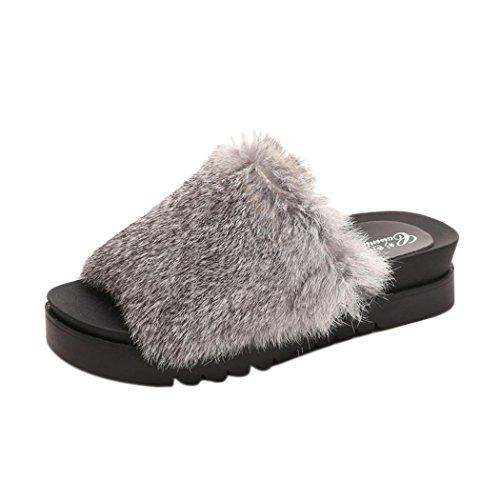 Women Flat Slipper Inkach Stylish Girls Fluffy Faux Fur Flip Flops Sandal Thick Bottom Sliders Shoes