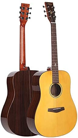 アコースティックギター シングルボードギター明るい丸いドラムバレルアコースティックギター 小学生 大人用 ギター初級 セット (色 : Natural, Size : 41 inches)