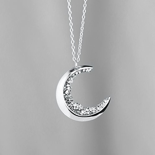 SAME DAY SHIPPING before 12pm Crescent Moon Necklace Silver Diamond Necklace MignonandMignon Mothers Day Gift For Her Celestial Jewelry - - Moon Diamond Necklace