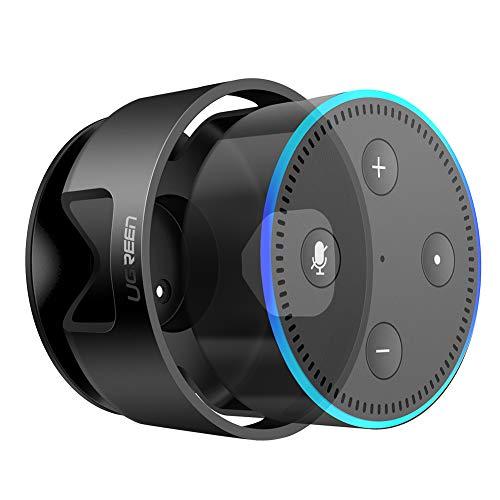 UGREEN Wall Mount Compatible for Echo Dot 2nd Generation Speaker Holder Hanger in Bedroom, Bathroom, Kitchen, Living Room, Home Space Saving Accessories Black