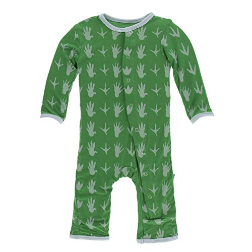 Kickee Pants Little Boys Print Coverall with Snaps - Dino Tracks, 0-3 Months
