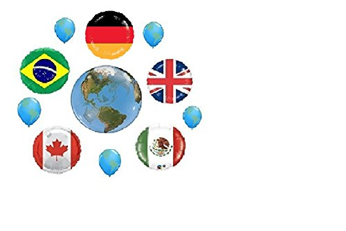 FUN WTH FLAGS ! 11pc BALLOON set PARTY new WORLD day SCHOOL event decor FLAG BALLOONS UK CANADA mexico BRAZIL germany INTERNATIONAL united NATIONS