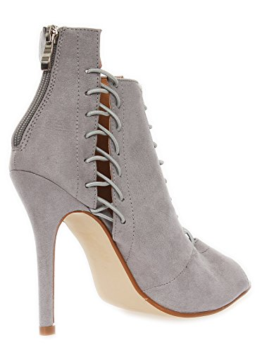 36 41 Farben in Pumps Schnür 3 Stiletto Damen Gr Grau nx08X