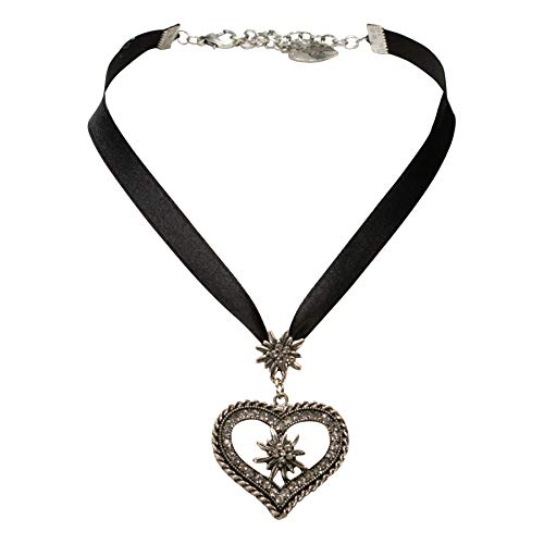 Alpenflüstern Bavarian Satin Ribbon Necklace Heart with Rhinestone Edelweiss Flower (Black) - Traditional German Dirndl Jewelry