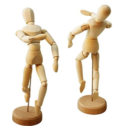 2-Pcs Artists Wooden Male Manikin Blockhead Jointed Mannequin