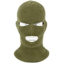 Army Green 3 Hole Knit Ribbed Cold Weather Winter Face Mask Military Tactical Hunting