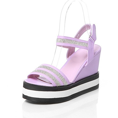AmoonyFashion Womens PU Solid Hook-and-loop Open-Toe High-Heels Sandals Purple