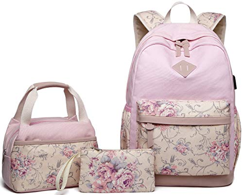 Abshoo Lightweight Canvas Floral Teen Backpacks for Girls School Backpack with Lunch Bag (9G4 Pink)