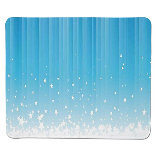 Mouse Pad Unique Custom Printed Mousepad [ Abstract,Stars Splashing Down Open Sky Vibrant Celestial Rays Beams Artful Design Decorative,Sky Blue White ] Stitched Edge Non Slip Rubber Celestial Blue Design