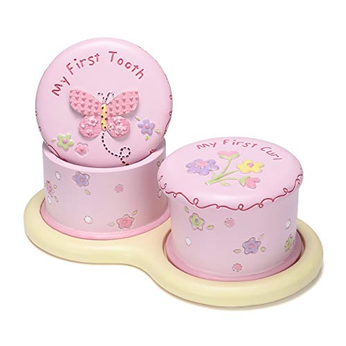 Mogoko Cute Child Tooth Box, Baby First Tooth and Curl Keepsake Boxes Set, Kids Teeth Fairy Holder for Boy or Girl (Pink)