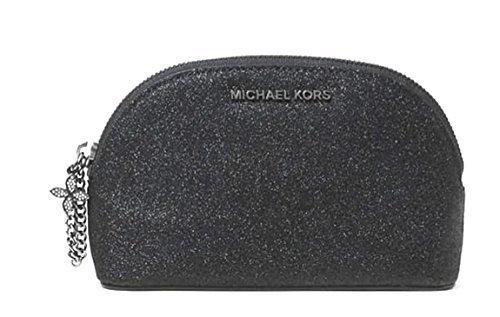 Michael Kors Black Glitter Leather Alex Medium Cosmetic Case