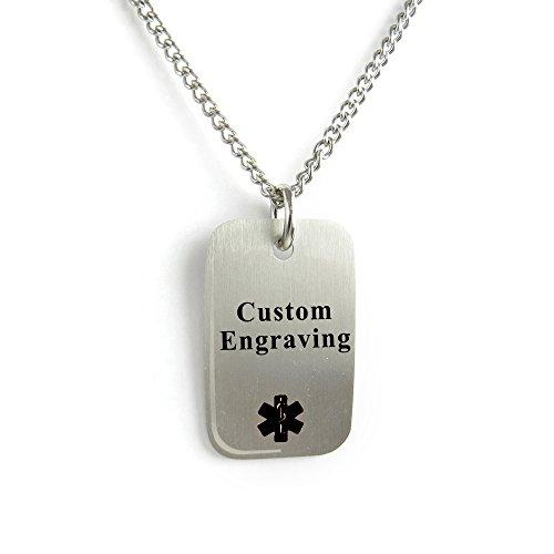 My Identity Doctor Custom Engraved Medical Alert Dog Tag 316L Steel Light Weight Black