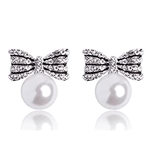 MISASHA Celebrity Imitation Pearl Bowknot Studs Earrings