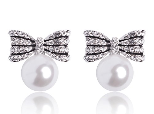 MISASHA Celebrity Imitation Pearl Bowknot Studs Earrings (New Chanel Sunglasses)