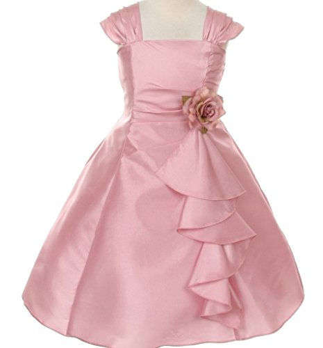 Little-Girls-Elegant-Ruffle-Taffeta-Corsage-Special-Flowers-Girls-Dresses