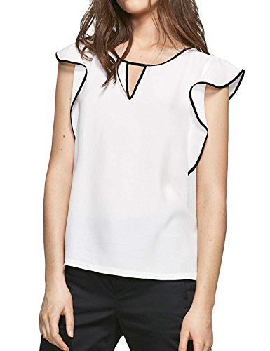 Blooming Jelly Women's Fashion Short Falbala Sleeve Front Keyhole Ruffle T-Shirt Blouse Tops(XL) - Ruffle Front Short