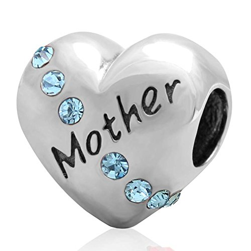 Choruslove 925 Sterling Silver Mother Heart Love Aquamarine Crystal Charm Bead Fits Mothers Day European Bracelet