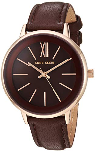 Anne Klein Women's AK/3252RGBN Rose Gold-Tone and Brown Leather Strap Watch