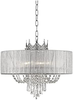 Hallie Silver Draped Crown Crystal Chandelier 21″ Wide Modern 6-Light Fixture