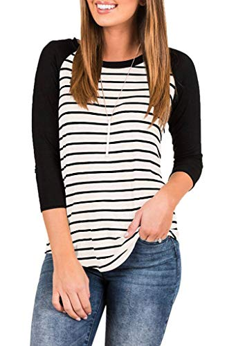 - EZBELLE Women's Casual Raglan Striped T Shirt 3/4 Sleeve Tunic Blouse Round Neck Basic Tops White Medium