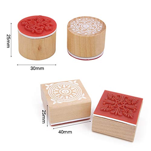 Set of 16 Floral Pattern Stamp, Lace Wooden Rubber Stamp for DIY Craft Card and Scrapbooking