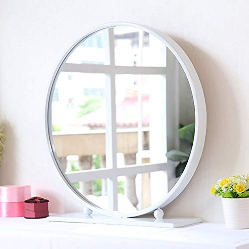 (GY European-Style Desktop Large Round Mirror-Vanity Mirror for Bedroom/Bathroom/Hotel Bathroom Mirror-30-70cm /+-+/ (Color : White, Size : 40cm))