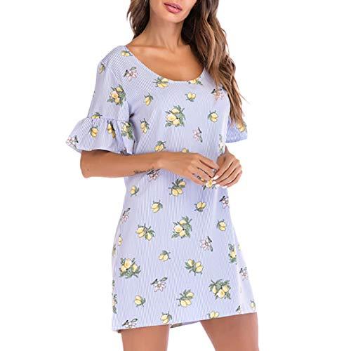 Ximandi Fashion Womens Casual O-Neck Stripe Floral Print Butterfly Sleeve Mini Dress -