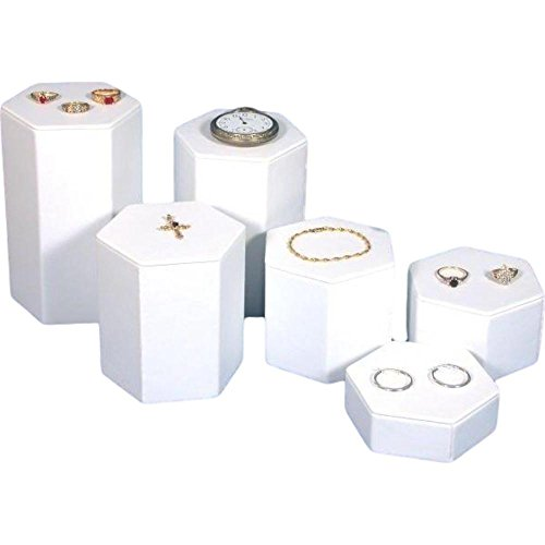 FindingKing 6 White Leather Jewelry Risers Tall Showcase Display (Wholesale Jewelry Leather)