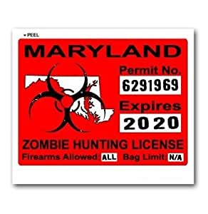 Maryland md zombie hunting license permit red for Md fishing license
