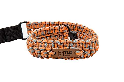 TLO Outdoors Paracord Gun Sling - Adjustable 2-Point Paracord Sling Rifle, Shotgun Crossbows (550 Rated Nylon, Kernmantle Paracord, Extra Wide, Sunset Orange) (Crossbow Pistol Sling)
