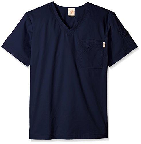 KOI Men's Big and Tall Coby V-Neck Scrub Top With 6 Pockets, Navy, 2X (Tall Scrub Mens Koi)