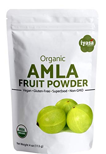 #Limited offer## Organic Amla Fruit Powder, Amla (Amalaki) Berry Powder, USDA Organic, Raw Superfood, Immunity Booster, Promotes Skin and Hair Growth, Resealable Pouch, Trial pack of 4 ounce/113 gm