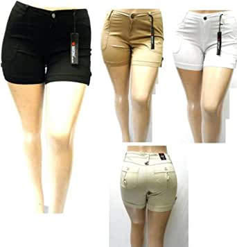 1826 Women's PLUS SIZE Stretch HIGH WAIST TWILL Short 95% Cotton 5% Spandex 7380 (14, BLACK)