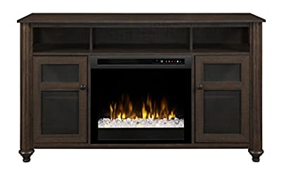 Dimplex Electric Fireplace, Media Console, TV Stand and Entertainment Center with Multiple Storage Cabinets and Glass Ember Bed in Warm Brown Finish - Xavier #GDS23G8-1904GB